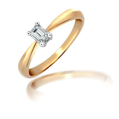 18ct Yellow Gold 25pt Emerald Cut Solitaire Ring