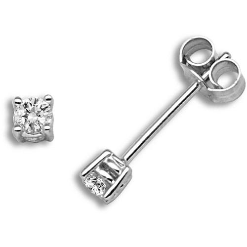 18ct White Gold 20pt Claw Set Solitaire Diamond Stud Earrings