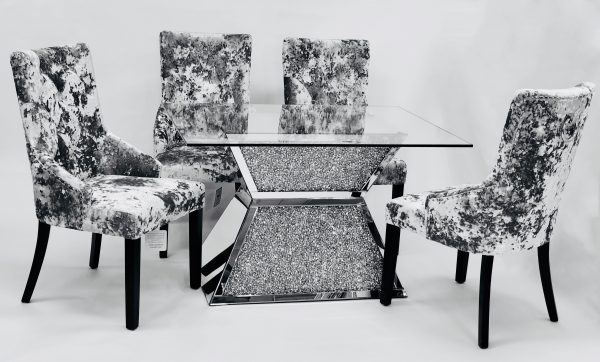 Crushed Diamond Dining Table T 4 Table With 4 Premium Crushed Velvet Chairs